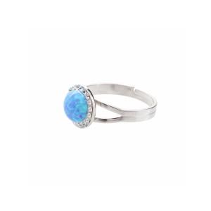 Strieborný prsteň s opál a kryštálikmi Swarovski ® components Opal