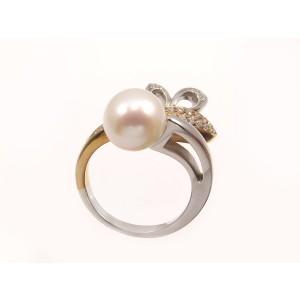 Zlatý briliantový  prsteň s perlou