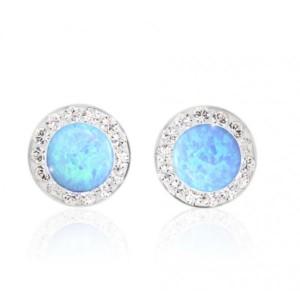 Strieborné náušnice s opálovými a Swarovski kryštálmi® komponenty Opal