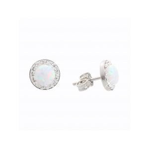 Strieborné náušnice s opál a kryštálikmi Swarovski ® components Opal