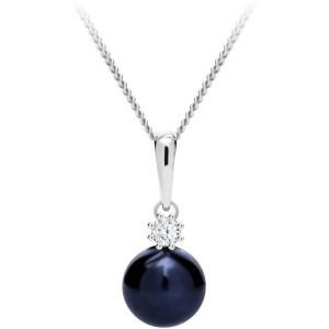 Strieborný náhrdelník Tonga s pravou riečnou perlou a kubickou zirkónia Preciosa