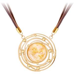 Kožený náhrdelník so zlatistým krištáľom Mays