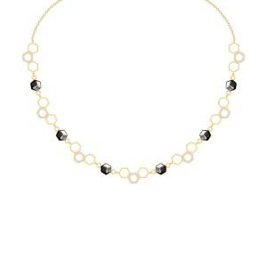 Zlatý oceľový náhrdelník s krištáľom Honeygon